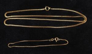 "Gold Bracelet Marked 14kt Italy, 7"" Long And Gold Necklace Marked 1/20-12kt GF, 20.5"" Long, 10.83 g Total Weight"
