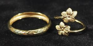 Gold Ring Marked ARR14k Turkey, Size 9-1/4 And Gold Ring With Floral Design Marked 14k, Size 3, 1.757 g Total Weight