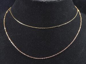 "Gold Necklace Marked 14k, 16.5"" Long, And Rose Gold Necklace Marked 14kt Italy MILOR, 18"" Long, 1.775 g Total Weight"