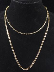 "Gold Necklace Marked 14kt Italy DG, 24"" Long And Gold Necklace Marked 585 14kt Italy 7RW, 18"" Long, 11 g Total Weight"