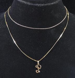 "Gold Necklace Marked 14kt Italy, 18"" Long With Pendant Marked 14k And Gold Necklace Marked 14kt Baroness, 15"" Long, 3.72 g Total Weight"