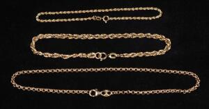 "Three Gold Bracelets Marked 14k, Lengths Include 7"", 8"", And 10"" Long, 5.93 g Total Weight"