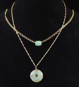 "Gold Necklaces Marked 14k Italy, Both 20"" Long, Both With 14k Jade Appearing Pendants, 20.076 g Total Weight Including Pendants"