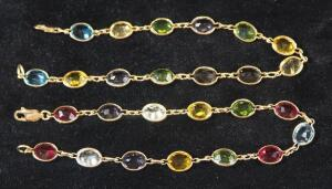 "Gold Bracelets With Multicolored Gemstones, Marked 14k, 8"" Long, Qty 2, 13.83 g Total Weight Including Stones"