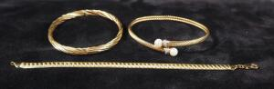 Three Gold Bracelets, Markings Include R&D 14kp, 14k, And 14kt Italy AURAFIN, 23 g Total Weight