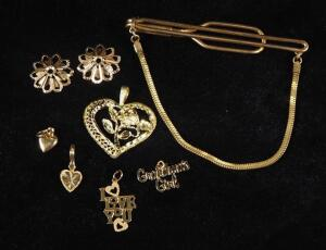 Gold Pendants Marked 14k, Qty 7, 1 Marked Beverly Hills 14k, And Tie Bar Marked Forstner 1/20-12 KTGF, 11.93 g Total Weight