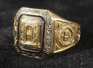 Gold Class Ring From Mt. Vernon Township High School, 1953, Marked HJ10k, Engraved PAC, Size 6-1/2, 6.29 g Total Weight