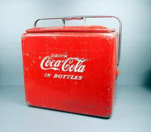 "Vintage Coca-Cola Metal Cooler Made By Progress Refrigerator Co., With Insert Tray, 18"" High x 18"" Wide x 13"" Deep"