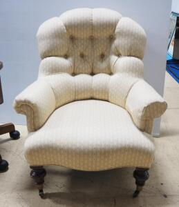 "Ethan Allen Tufted Arm Chair, Casters On Front Wheels, 37"" High x 31.5"" Wide x 37"" Deep, Matches Lot 93"