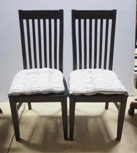 "Slat Back Dining Chairs With Removable Padded Seat Cushions, 41"" High, Qty 2"