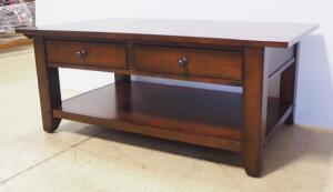 "Coffe Table With 2 Drawers And Lower Shelf, 19.25"" High x 47"" Wide x 27"" Deep"