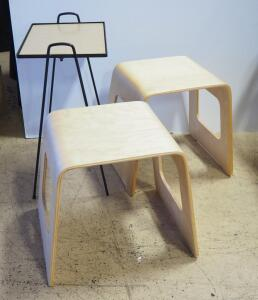 "Bent Wood Stackable Stools, 17.75"" High x 20"" Wide x 13.75"" Deep, Qty 2 And Magazine Table"