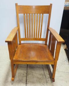 "Rocking Chair With Slat Back And Arms, 35.5"" High x 25.5"" Wide"