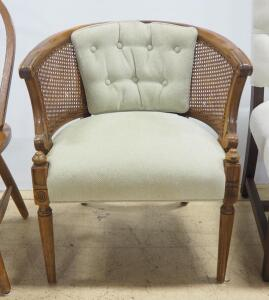 "Arm Chair With Padded Seat And Back, Woven Back Support, 30"" High"