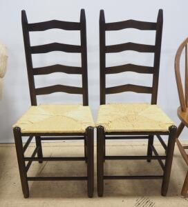 "Dining Chairs With Woven Cane Seats, 41.5"" High, Qty 2"