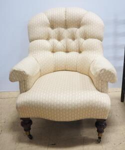 "Ethan Allen Tufted Arm Chair, Casters On Front Wheels, 37"" High x 31.5"" Wide x 37"" Deep, Matches Lot 78"