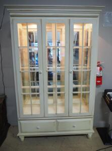 "Illuminated China Cabinet With 2 Doors, 2 Drawers, 3 Glass Shelves And Mirrored Back, Lights Power On, 79.5"" High x 51.25"" Wide x 16.5"" Deep"