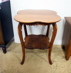 "Side Table With Clover Shape Top And Lower Shelf, 29"" High x 24.5"" Square"