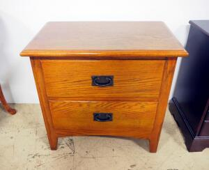 "Sonoma 2 Drawer Night Stand, 25"" High x 26"" Wide x 16"" Deep, Some Wear, Matches Lots 119 And 128"