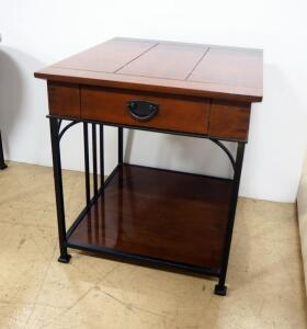 "Drexel Heritage Single-Drawer Table With Lower Shelf, 26.25"" High x 24"" Wide x 27"" Deep, Matches Lots 108 & 117"