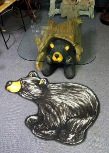 "Big Sky Carvers Cast ""Bud"" Bear Table With Glass Top, 15"" x 40"" x 28"", With Rubber-Backed Bear Rug"