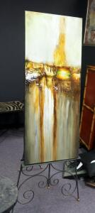 "Imax Canvas Waterfall Art Print, 50"" x 20"", With 69"" Scrolled Iron Artist's Easel"