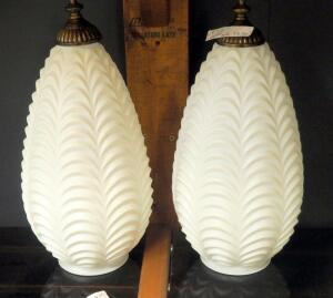 "4"" x 15"" Ruffled Glass Pendant Globes With Brass Finials, Qty 2"