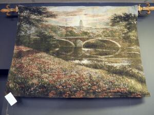"Beljen Mills 34"" x 46"" Tapestry Titled ""Distant Village"", Includes Fleur-De-Lis Hanging Dowel"