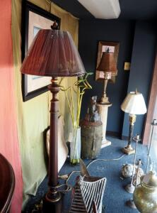 Dave Smith The Lamp Maker Store Front Window Display Including Table & Floor Lamps, Art Work, Vases, Cast Pedestals, Mirror, & More, Qty 65 Pieces,...