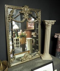 "Ornate Silver Washed Wall Mirror 50.5"" x 35"", And 39"" Cast Pedestal"