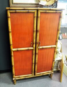 "Asian Inspired 2-Door Storage Cabinet With Brass Handles, 52"" x 32"" x 15"", Contents Not Included"
