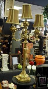 "32"" 3-Armed Gold Ornate Table Lamp"