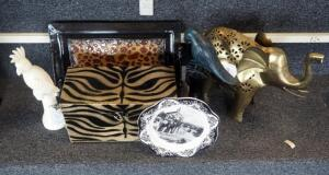 Jungle Theme Decor Including Parrots, Elephants, Serving Tray, And Zebra Print Storage Chest, Qty 6 Pieces
