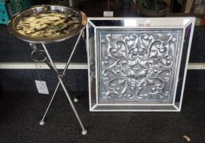 "Silver Toned Accent Table With Mother Of Pearl Inlay 23"" x 11.5"" Round And Framed Mirrored Tin Wall Art 20"" x 20"""