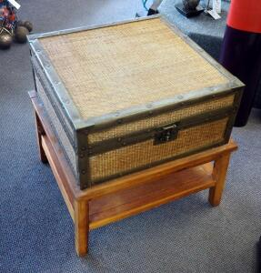 "Leather And Rattan Chest Table 24"" x 24"" x 24"", Contents Not Included"