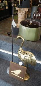"42"" Metal Bird Stand, Die Cut Flamingo Candle Holder, And 10"" x 10"" Bird On Branch Wall Art"