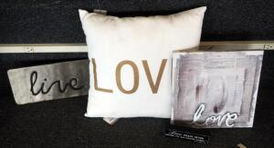 """Love"" Canvas Wrapped Wall Art 12"" x 12"", ""Love"" Pillow, ""Live"" Plaque, And More, Qty 4 Pieces"