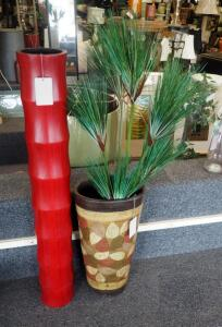 "37.5"" Bamboo Vase And 19.5"" Azhar Vase With Artificial Greenery"