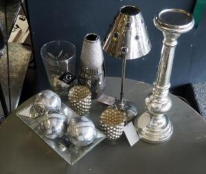 Silver Toned Home Decor Including Candle Stands, Vases, Votives, And More; Qty 11 Pieces