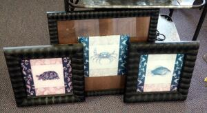 "Framed Carp (15"" x 14""), Sea Turtle (15"" x 14""), And Fiddler Crab (21"" x 20"") Art Work Qty 3"