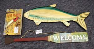 "Lake/Cabin Decor Including ""Gone Fishing"" Wall Key Holder, Painted Wood Carp Wall Hanging, And Hanging ""Welcome"" Oar"