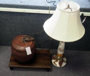 "29"" Ceramic Grape Candlestick Style Table Lamp, Large Saba Apple Figure, And Wood Display Stand 3"" x 18.5"" x 10.5"""