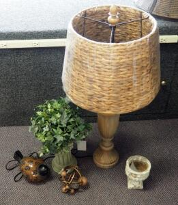 "Pacific Coast Lighting 32"" Beige Table Lamp With Wicker Shade, Decorative Column, Mosaic Glass Bird, Planter, And More, Qty 5 Pieces"