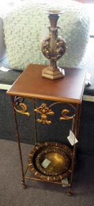 "Casa Cristina Home Accent Table 30"" x 14"" x 14"", Including Fleur-De-Lis Candle Holder And Hammered Bowls With Rope Rims"