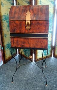 "Decorative Metal Storage Trunk On Metal Stand 37.5"" x 16"" x 14"""