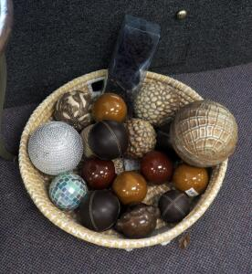 "Decorative Spheres Including Glass, Leather Wrapped, Ceramic, Jeweled, And More; 24"" Decorative Straw Basket Included"