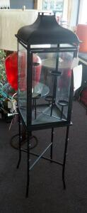 "53"" Metal And Glass 5-Candle Hurricane Lamp With Stand"