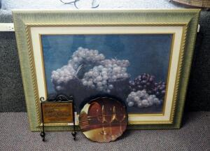 "Framed Matted Under Glass Grape Print 26.5"" x 31"", Includes Millbrook Chardonnay Wall Hook And Decorative Wine Glass Plate"
