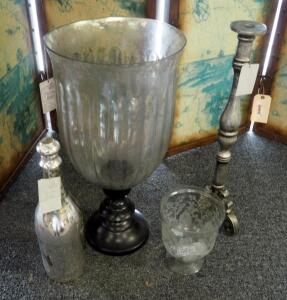 "22"" Mercury Glass Hurricane Candleholder, 22"" Candle Stand, Silver Glass Bottle, And More, Qty 4"