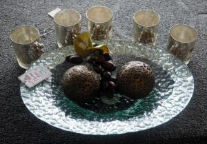 "Que Mercury Glass Candleholders Qty 5, 16"" Decorative Glass Bowl, Spheres, And Faux Grapes"